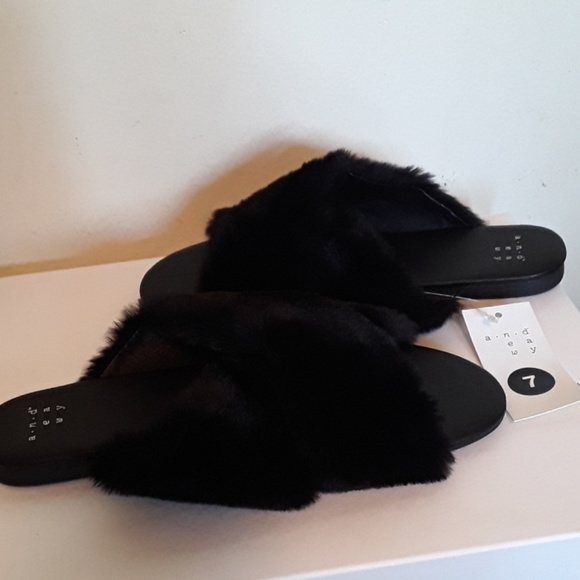 a new day Shoes - Clearance! Super cute faux fur slide sandals.